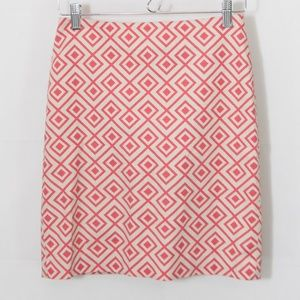 Ann Taylor Geo Print Pencil Skirt Career 0P 0108X